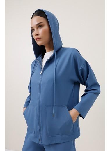 Gusto Kapüşonlu Spor Ceket - Mavi Kapüşonlu Spor Ceket - Mavi Mavi